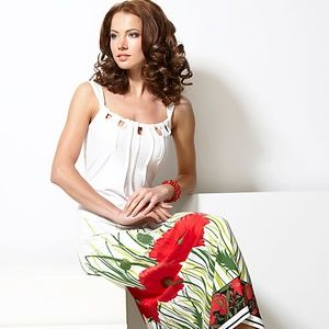 PARTY LONG DRESS WITH RED POPPIES MADE IN EUROPE